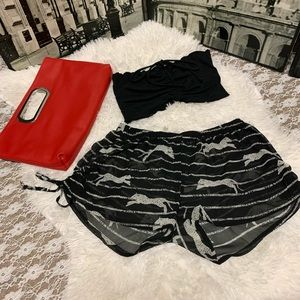 🐆 H & M animal print sheer beach swim shorts